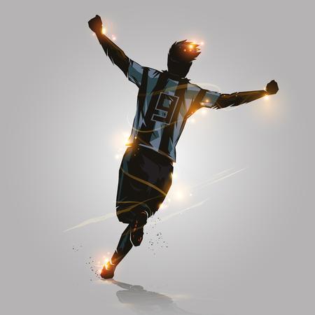 サッカー選手がデザインを実行することによってゴールを祝う