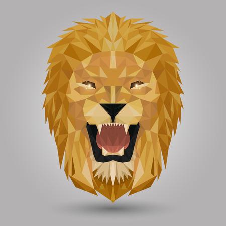 geometric lion head design on gray background
