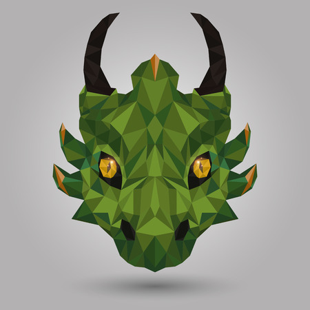 dragon head: geometric dragon head design on gray background Illustration