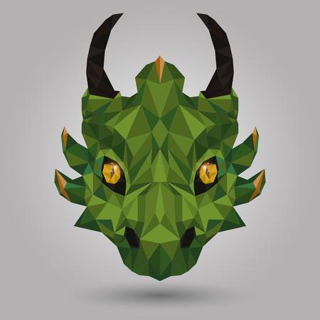 geometric dragon head design on gray background Illustration