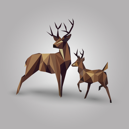 abstract geometric deer couple design on gray background Ilustração