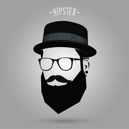 hipster men sign with hat design on gray background