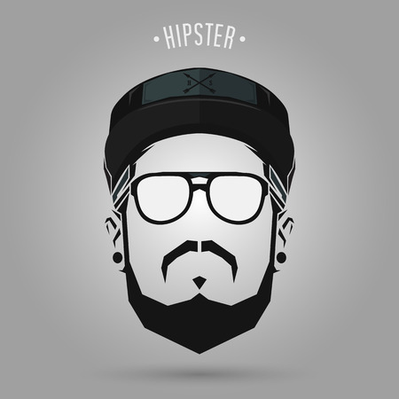 hipster men sign with a cap design on gray background Banco de Imagens - 62859049
