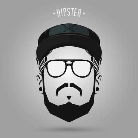 hipster men sign with a cap design on gray background Ilustração