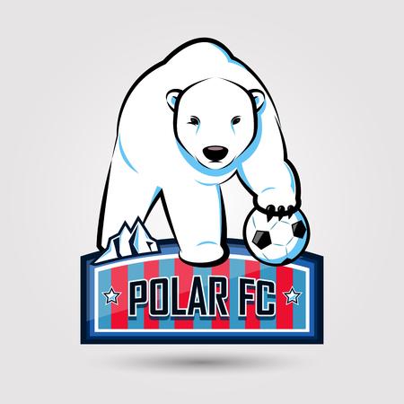 灰色の背景にシロクマ サッカー エンブレム デザイン