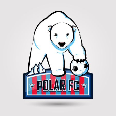 polar bear soccer emblem design on gray background Imagens - 64595639