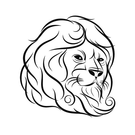 hand draw lion head outline design on gray background