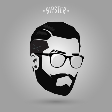 hipster men short hair style on gray background