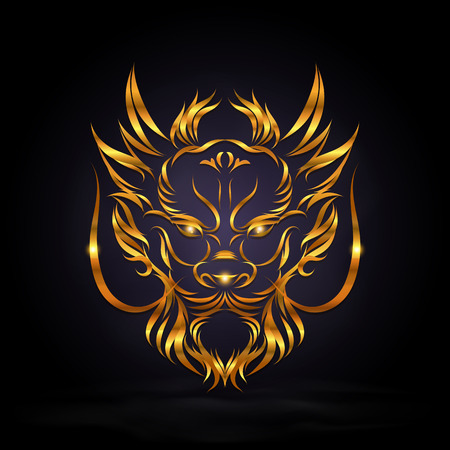 abstract gold dragon head sign on dark background