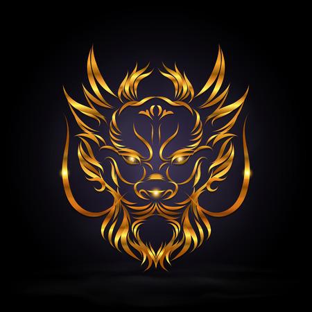 abstracte gouden draak hoofd teken op een donkere achtergrond Vector Illustratie