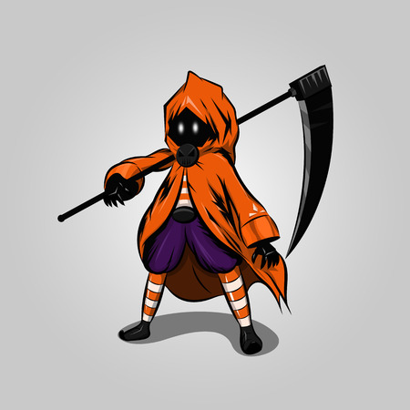 halloween reaper character design on gray background