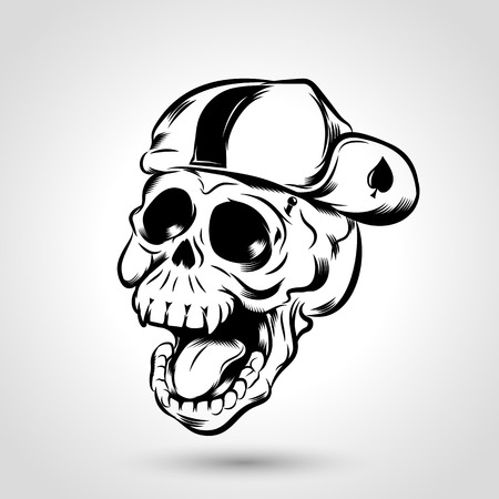 Punk skull with cap design on gray background