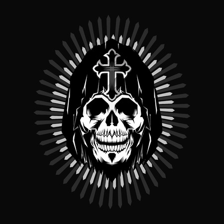Grim reaper head design on gray background Ilustração