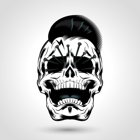punk skull head with nails in the eye design Banco de Imagens - 68634834