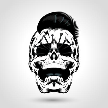 punk skull head with nails in the eye design Ilustração