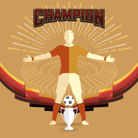 soccer champions poster design on yellow background Ilustração