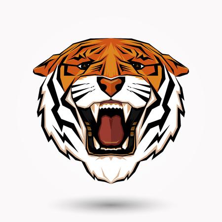 Tiger head symbol design on white background Ilustração