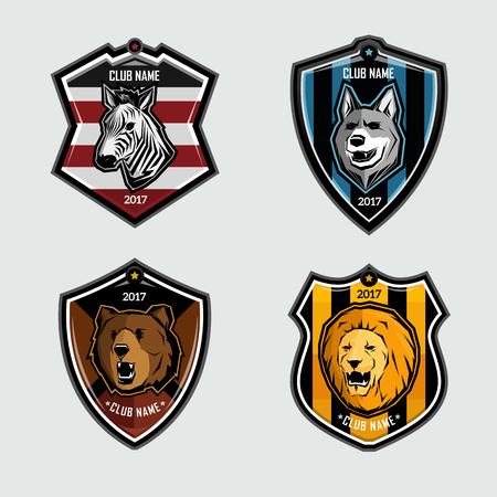Animal sign soccer emblems design on gray background Ilustração