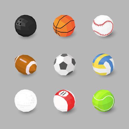 Sport ball icons set on gray background Ilustração