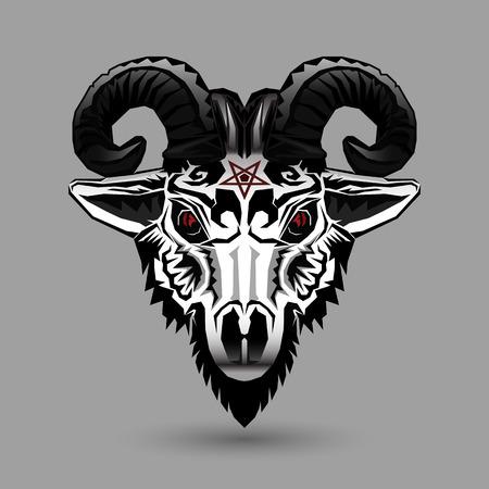 Demon goat head design on gray background
