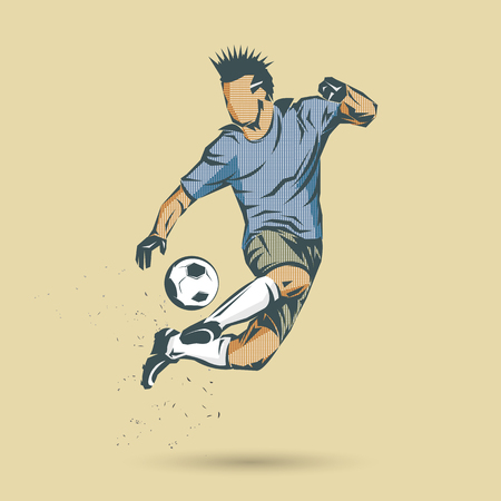 Soccer player in pop art design on brown background