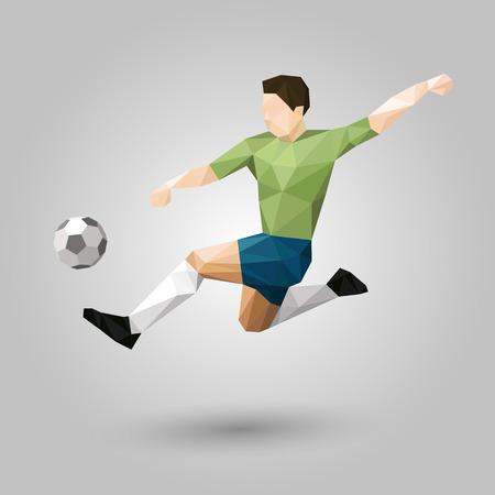 灰色の背景にキック デザインをジャンプの幾何学的なサッカー選手