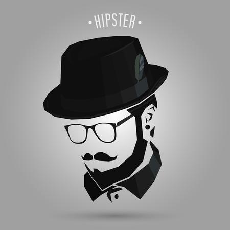 Hipster men wearing hat design on gray background