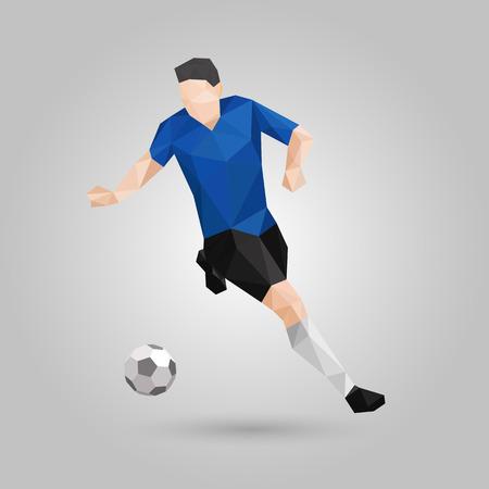 幾何学的なサッカー選手がスピードでボールをコントロールします。  イラスト・ベクター素材