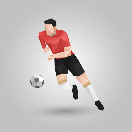 geometric soccer player run with ball design Imagens - 70739378