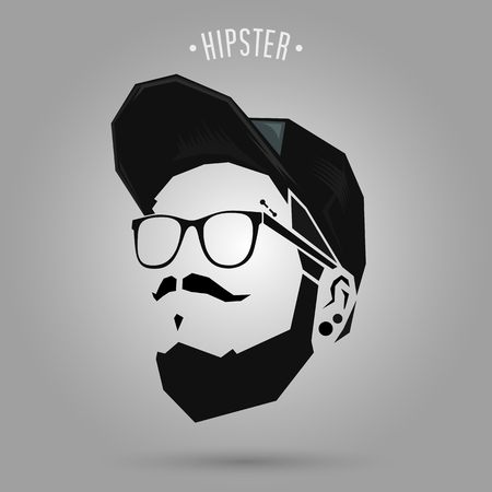 hipster men punk style wearing a cap design on gray background 矢量图像