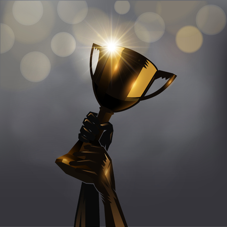 Hand up golden trophy design on gray background. Imagens - 74640672