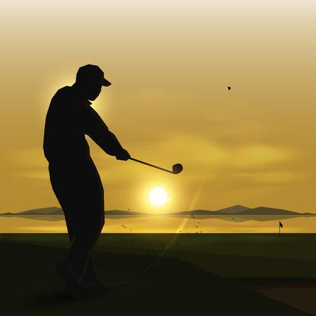 空と夕日のデザインでシルエット ゴルファーをスイングします。  イラスト・ベクター素材