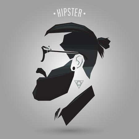 Hipster men hairstyle with tattoo on gray background Banco de Imagens - 78261498