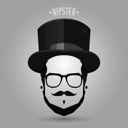 Hipster wearing black top hat on gray background