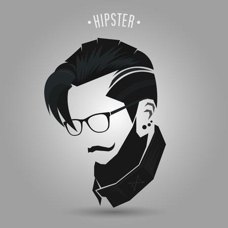 灰色の背景に流行に敏感な男性のビンテージ髪型  イラスト・ベクター素材