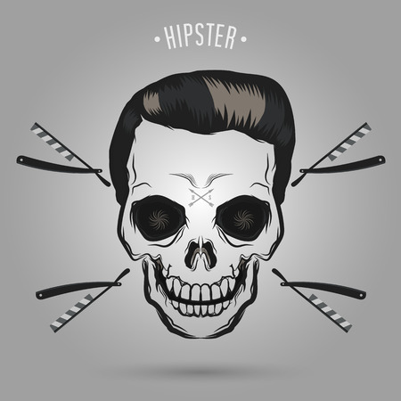 灰色の背景にヒップスター頭蓋骨ヘアデザイン  イラスト・ベクター素材