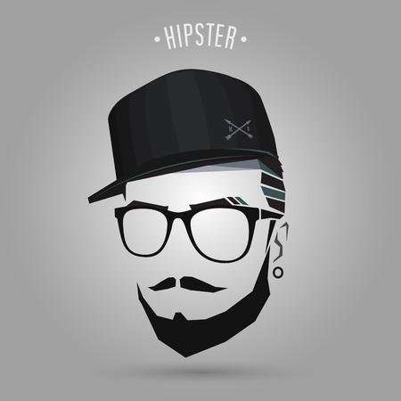 若いヒップな身に着けている帽子の設計  イラスト・ベクター素材
