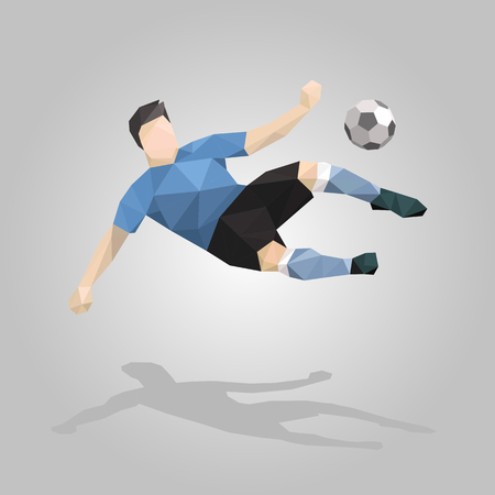 geometric soccer player overhead kick on gray background