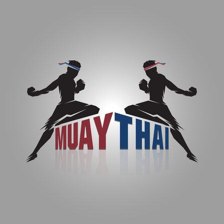 Muay thai sign design on gray background