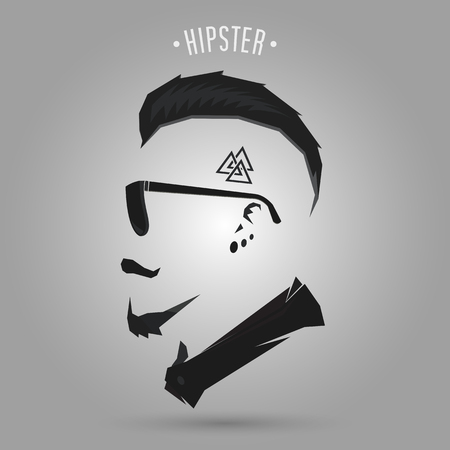 Hipster man met punk haarstijl design Stock Illustratie