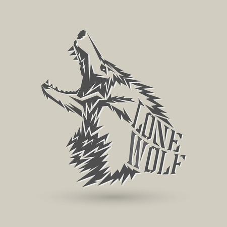 灰色の背景に一匹狼シンボル デザイン  イラスト・ベクター素材