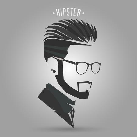 灰色の背景にヒップスター男性のヘアスタイルシンボル