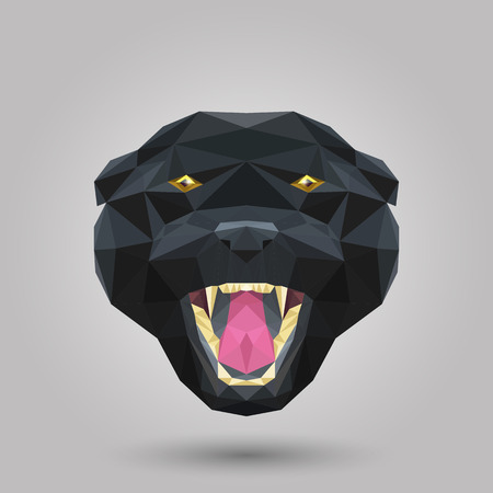 Geometric black panther head on gray blackground