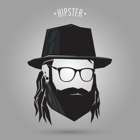 Hipster man long hair style on gray background