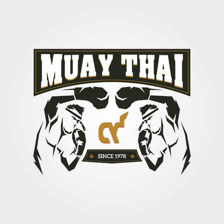 Muay thai symbol design on gray background
