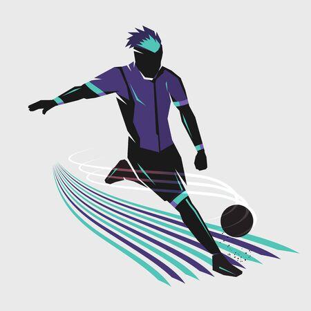 soccer player shooting design pop art color style