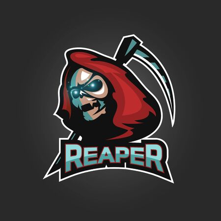 Reaper with Scythe for Sport and esport isolated on dark background