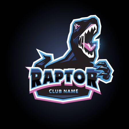 Raptor emblem design for sport, club on dark background Illustration
