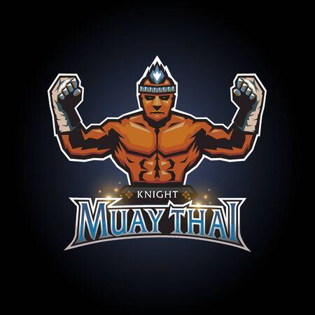 Esports knight muay thai club logo design Ilustração