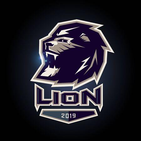 Lion symbol emblem design on dark background